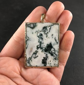 Awesome Gold Rimmed Moss Agate Stone Slice Pendant Necklace #qI00Rkmx9J4
