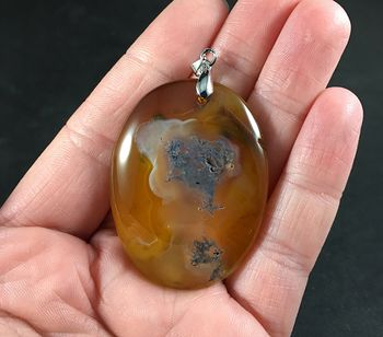 Beautiful Amber Toned and Dendrite Moss Agate Stone Pendant Necklace #0XM2tjQbj1k