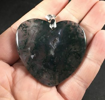 Beautiful Gray and Green Heart Shaped Moss Agate Stone Pendant Necklace #ncAdX6Notgg