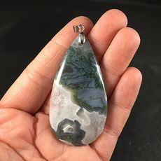 Beautiful Green Gray and White Druzy Moss Agate Stone Pendant #ncBq7S3D1JE
