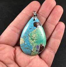 Beautiful Green Yellow Brown and Blue Crackled Synthetic Turquoise Stone Pendant #2gjKeXbqTvs