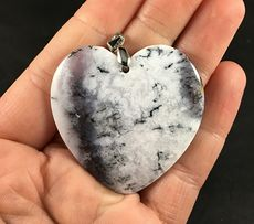 Beautiful Heart Shaped African Dendrite Moss Opal Stone Pendant #WfIzL4T2pqg