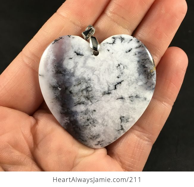Beautiful Heart Shaped African Dendrite Moss Opal Stone Pendant - #WfIzL4T2pqg-1