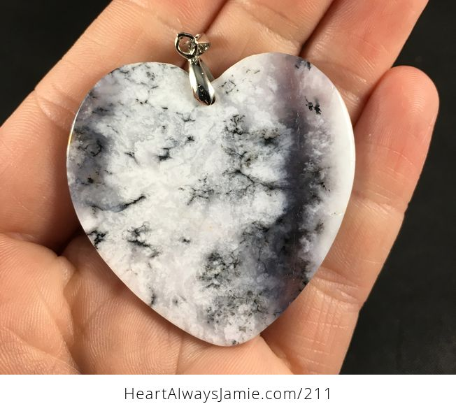 Beautiful Heart Shaped African Dendrite Moss Opal Stone Pendant Necklace - #WfIzL4T2pqg-2