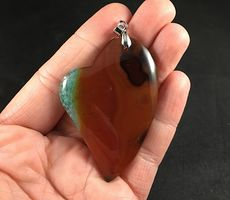 Beautiful Heart Shaped Brown and Orange and Blue and Green Druzy Agate Stone Pendant #HapJVuil3d0