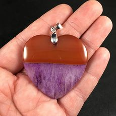 Beautiful Heart Shaped Brown and Purple Druzy Agate Stone Pendant #8SxCGebBTC4