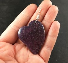 Beautiful Heart Shaped Purple Lepidolite Stone Pendant #wcWOsJHcEDo