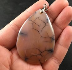 Beautiful Muted Beige and Orange and Black Dragon Veins Stone Agate Pendant #nJLHelw9bSo