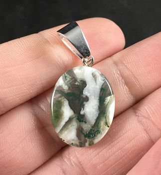 Beautiful Oval Shaped White and Green Moss Agate Stone Pendant Necklace #xOeqhPlC0eM