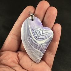 Beautiful Purple and White Striped Heart Shaped Agate Stone Pendant #cgwh1aDTMGU