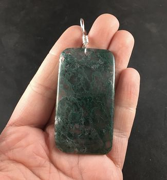 Beautiful Rectangular Moss Agate Stone Pendant Necklace #m8iNMybkhmc