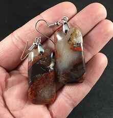 Beautiful Red and Orange Brown and Tan Druzy Rainbow Jasper Stone Earrings #KpT1AHTEjWo