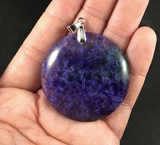 Beautiful Round Green and Purple Druzy Agate Stone Pendant #ZUL1GDVpn2w