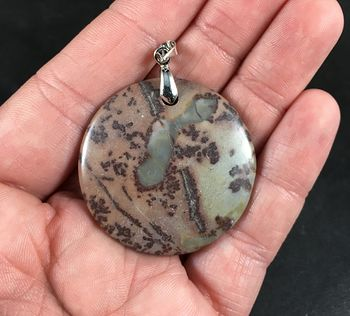 Beautiful Round Green Brown and Mauve Chohua Jasper Stone Pendant #szdEK9XBtYE