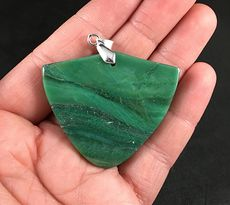 Beautiful Shield Shaped Green Natural African Transvaal Jade Stone Pendant #DwSViF4VhBo