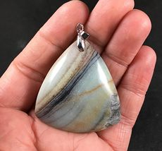 Beautiful Triangle Shaped Brown Black Tan and Blue Striped Amazonite Jasper Stone Pendant #T31MLnQMftE