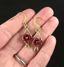 Beautiful Vintage Anodized Red Rose Flower Earrings #sGCBhLUiGOg