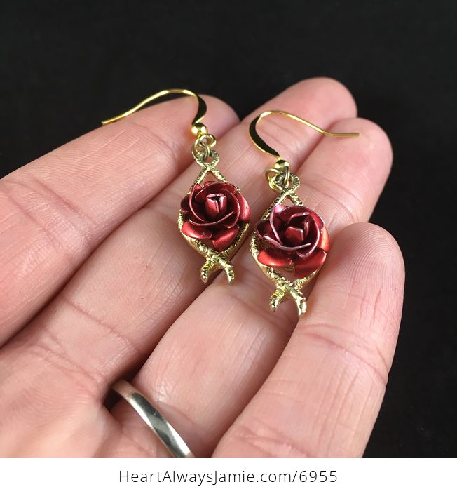 Beautiful Vintage Anodized Red Rose Flower Earrings - #sGCBhLUiGOg-2