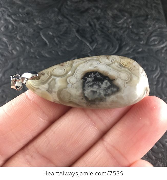 Beige and Brown Mexican Crazy Lace Agate Stone Jewelry Pendant - #f4idySuOoa4-4