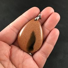 Black and Orange Goldstone Jewelry Pendant #2z3KstcsBGw