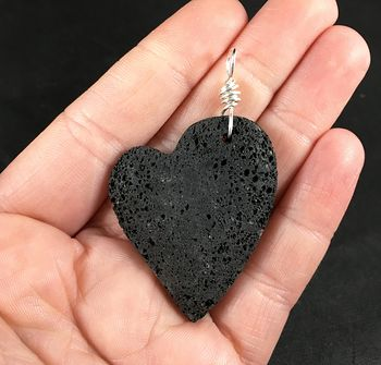 Black Heart Shaped Pelelith Vesuvianite Lava Rock Pendant #Rl68duFVc6U