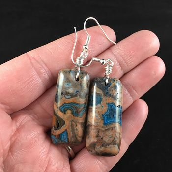 Blue and Orange Crazy Lace Agate Stone Jewelry Earrings #ZYvuZ2UJzSM