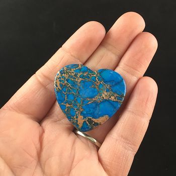Blue Heart Shaped Sea Sediment Jasper Stone Cabochon #cXSWkyfqJlw