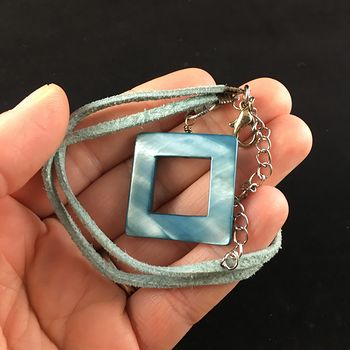 Blue Square Cut out Shell Jewelry Pendant Necklace #5S3HlRKauRc