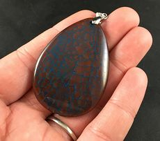 Brown and Blue Dragon Veins Stone Agate Pendant #GNo75rQGtdI
