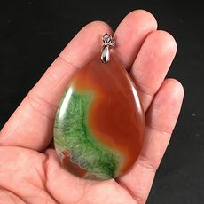 Brown and Green Druzy Agate Stone Pendant #rdg0iZdnx9I