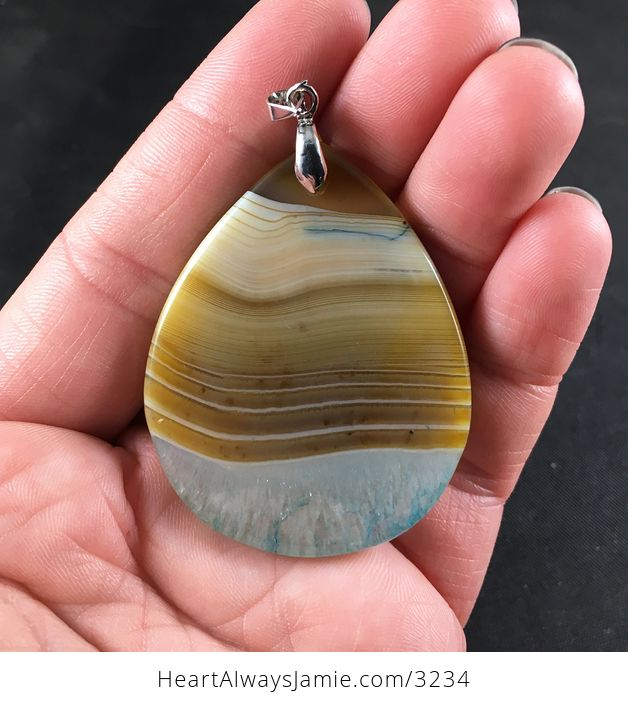 Brown and Pastel Blue Druzy Agate Stone Pendant Necklace - #HBcm1owHIEU-2