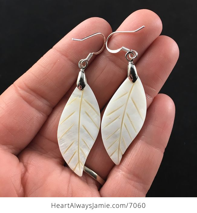 Carved Leaf Shell Jewelry Earrings - #AWGOwpBg22E-1