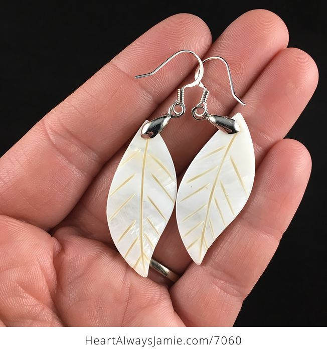 Carved Leaf Shell Jewelry Earrings - #AWGOwpBg22E-3