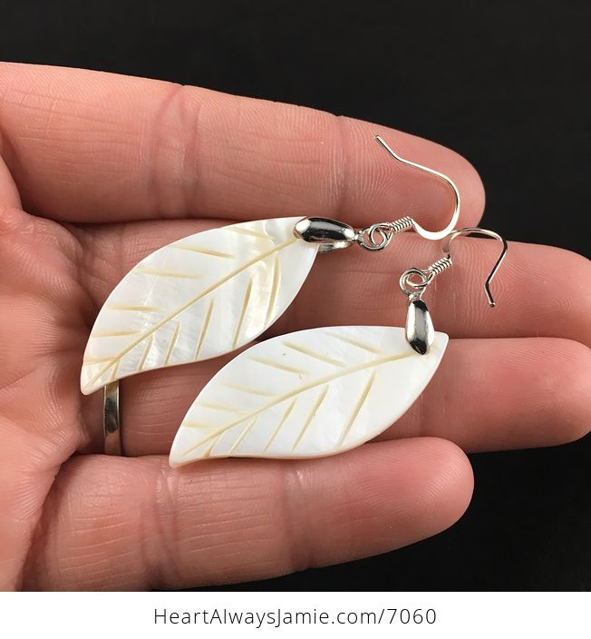 Carved Leaf Shell Jewelry Earrings - #AWGOwpBg22E-2