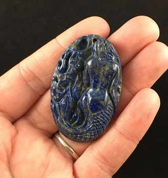 Carved Mermaid Lapis Lazuli Stone Pendant Jewelry #BBzcPIaOpaw