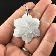 Carved White Shell Flower Jewelry Pendant #LchL4JIFpck