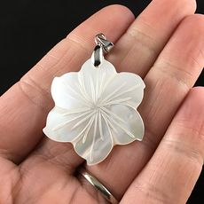Carved White Shell Flower Jewelry Pendant #PZRddPW7H1Y