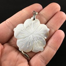 Carved White Shell Flower Jewelry Pendant #Y4h7hyoZRUc
