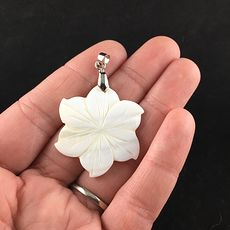 Carved White Shell Flower Jewelry Pendant #wrfy4IBkR1s