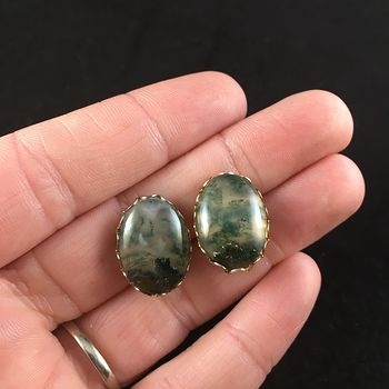 Clip on Moss Agate Stone Earrings #F7ZerpTDnzg