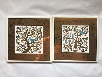 Complete New Unused Set of Collectible Tile Decorations by Berggren Traynor the Twelve Days of Christmas #z4PbAFgS0fc
