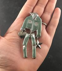Cool Vintage Green Metallic Enamel Cowgirl Jeans Jacket Heart and Star Wiggy Brooch Pin #qoauWOmO0mo