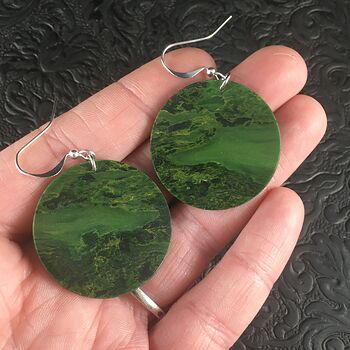 Cricle Green African Jade Stone Jewelry Earrings #FEbDyOH7gS8