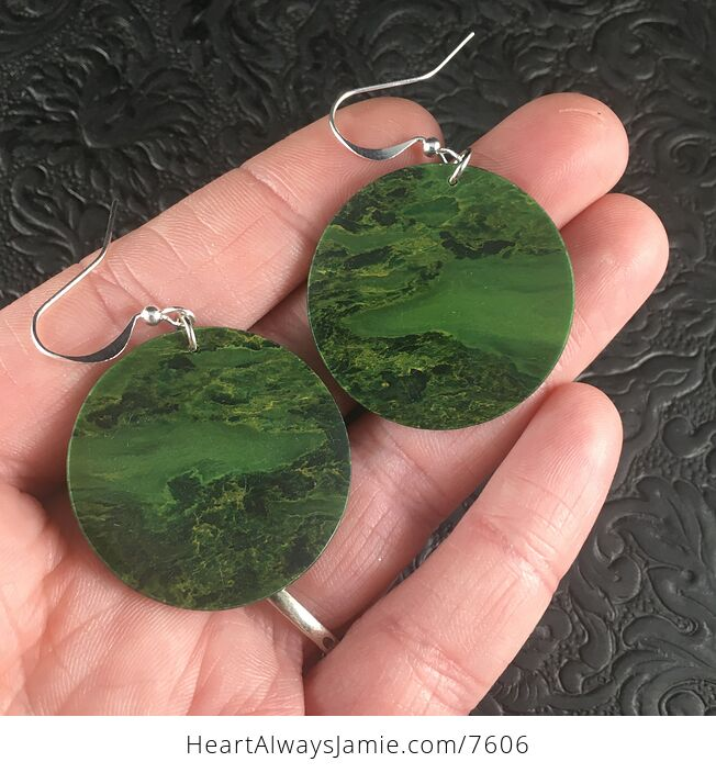 Cricle Green African Jade Stone Jewelry Earrings - #FEbDyOH7gS8-1