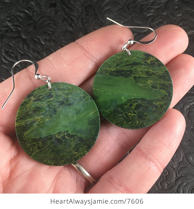 Cricle Green African Jade Stone Jewelry Earrings - #FEbDyOH7gS8-2