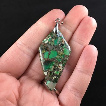 Diamond Shaped Green Sea Sediment Jasper Stone Jewelry Pendant #By1JaNPrMJA