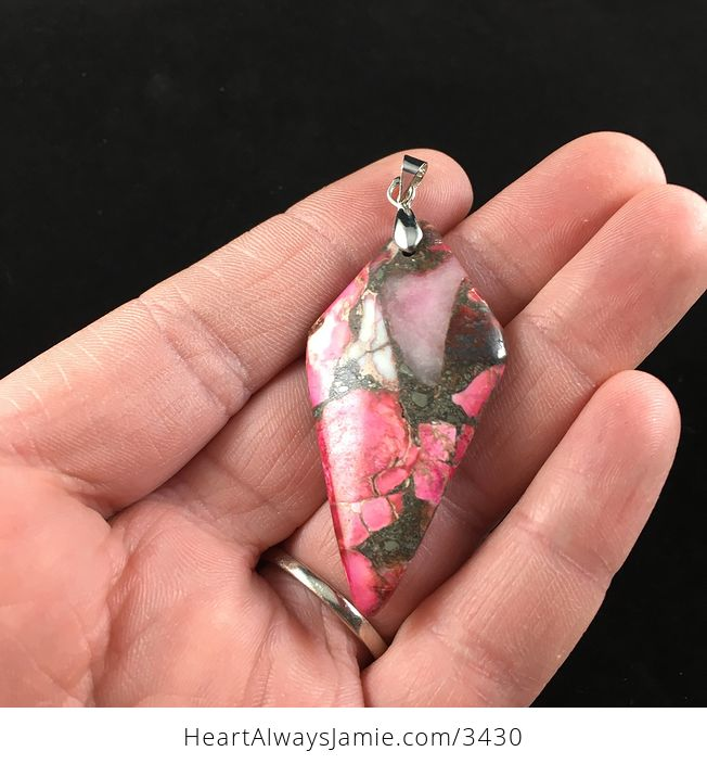 Diamond Shaped Pink Sea Sediment Jasper Stone Jewelry Pendant Necklace - #2nyS0IZckIY-3