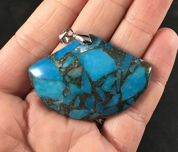 Fan Shaped Gorgeous Matrix Pyrite and Blue Stone Pendant #fbYmIoOgLTs