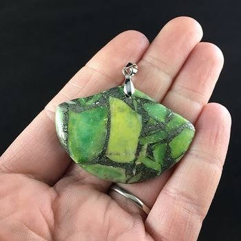 Fan Shaped Green Turquoise and Pyrite Stone Jewelry Pendant #QPDGHvFeQHw