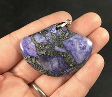 Fan Shaped Matrix Pyrite and Purple Stone Pendant #h4opv6m0DtA